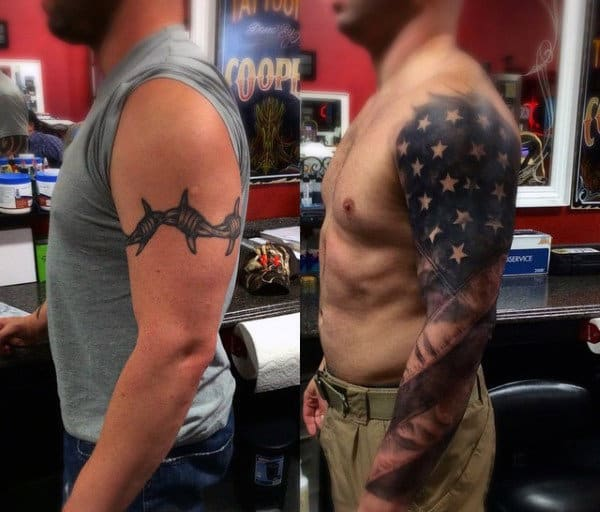 Cover Up American Flag And Eagle Tattoo For Men