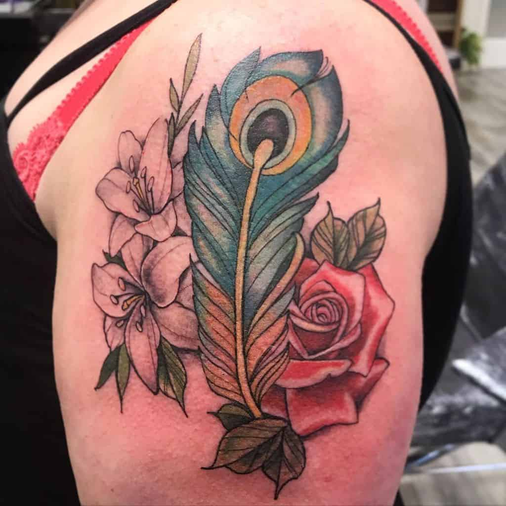 Cover Up Flowers Peacock Feather Tattoo