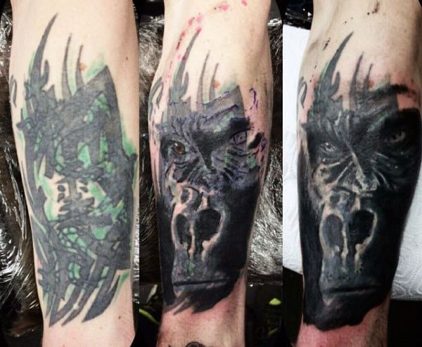 Cover Up Mens Forearm Gorilla Tattoos