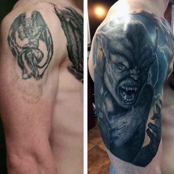Cover Up Mens Gargoyle Tattoo Arm Tattoos