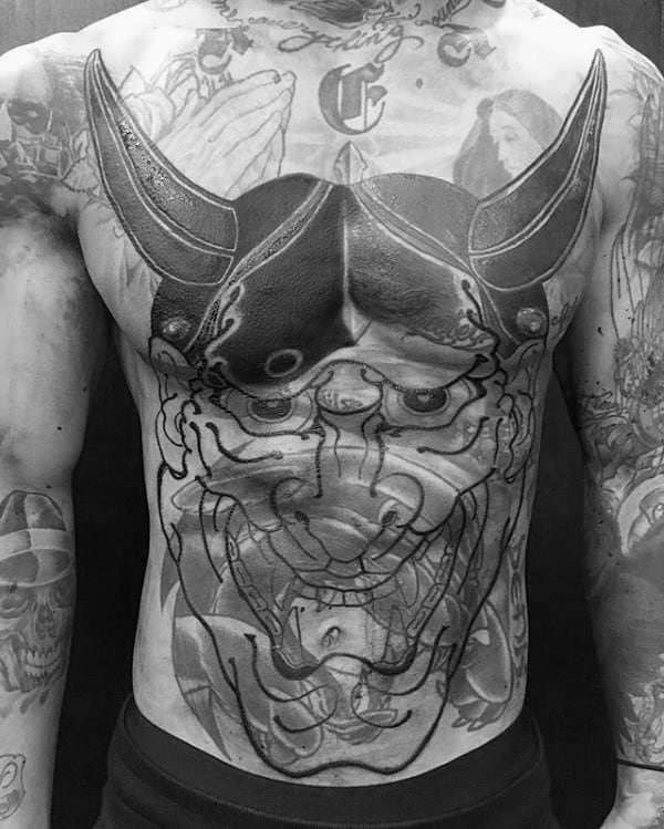 Cover Up Mens Hannya Mask Chest Tattoos