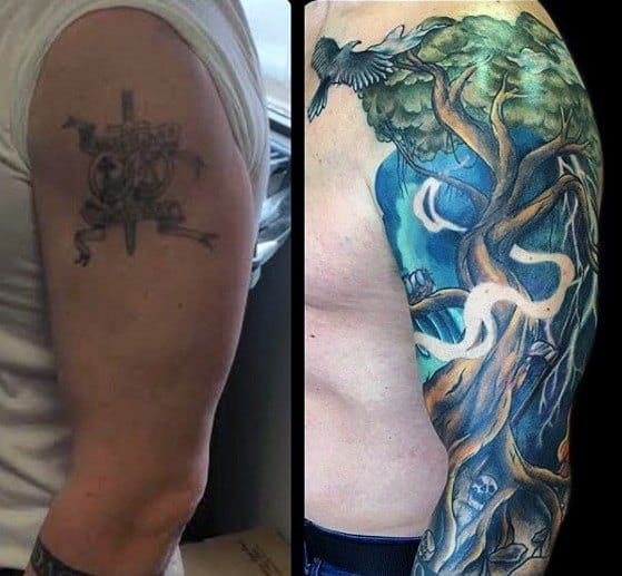 Cover Up Mens Tree Half Sleeve Tattoo Design Ideas