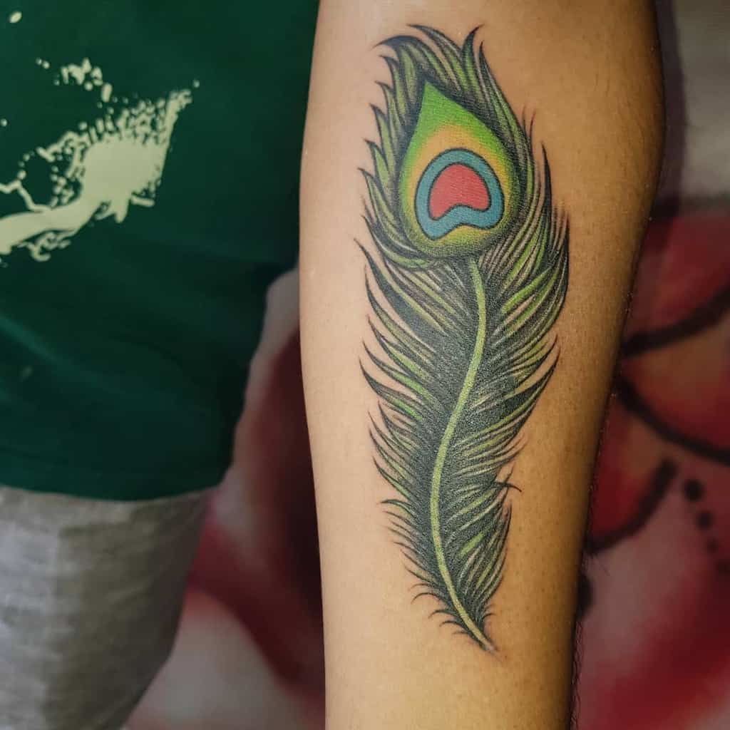 Cover Up Peacock Feather Tattoo