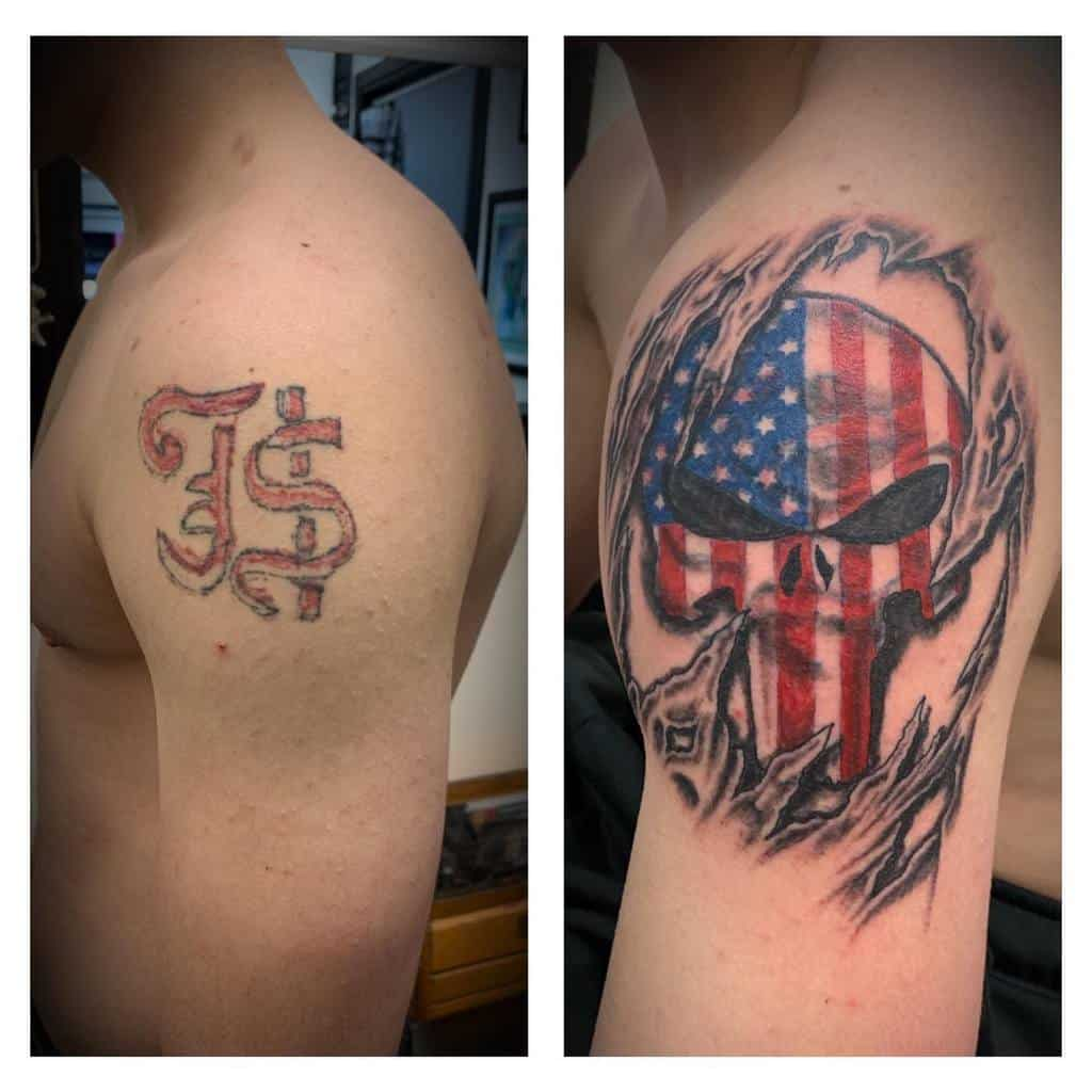 cover up punisher skull tattoo doughboyink
