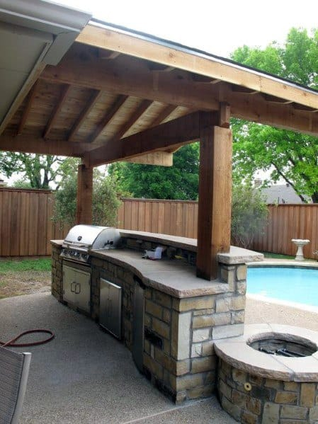 Coverd Stone Built In Grill