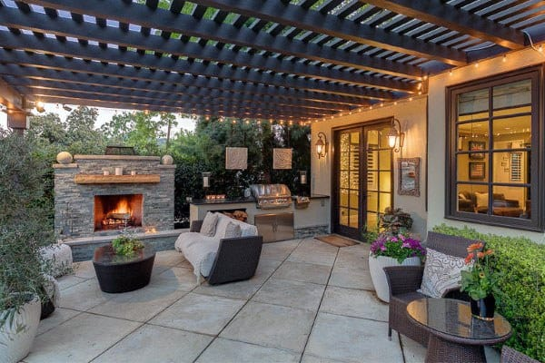 Covered Concrete Patio Ideas With Fireplace