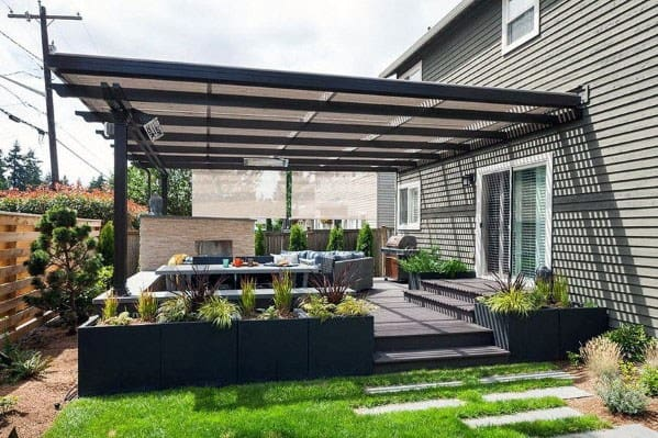 Top 50 Best Modern Deck Ideas - Contemporary Backyard Designs on Covered Back Deck Ideas id=21640