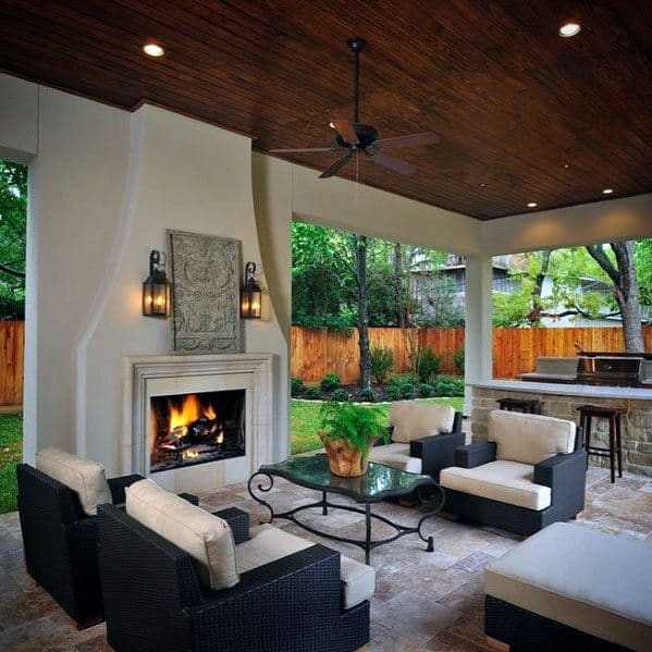 Top 60 Best Patio Fireplace Ideas - Backyard Living Space ... on Small Outdoor Fireplace Ideas id=37382