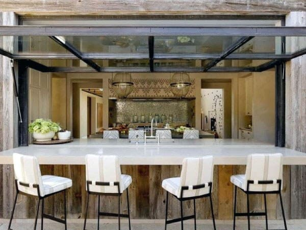 Covered Outdoor Bar Ideas Glass Garage Door