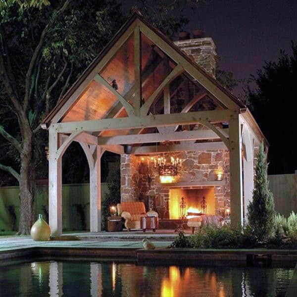 Covered Outdoor Fireplace Lounge Area