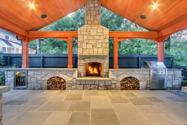 Covered Patio With Outdoor Fireplace And Grill
