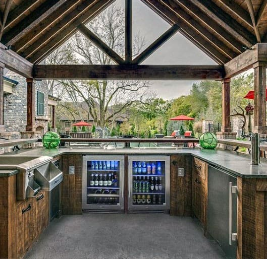 Covered Pavilion Backyard Bar Kitchen Ideas