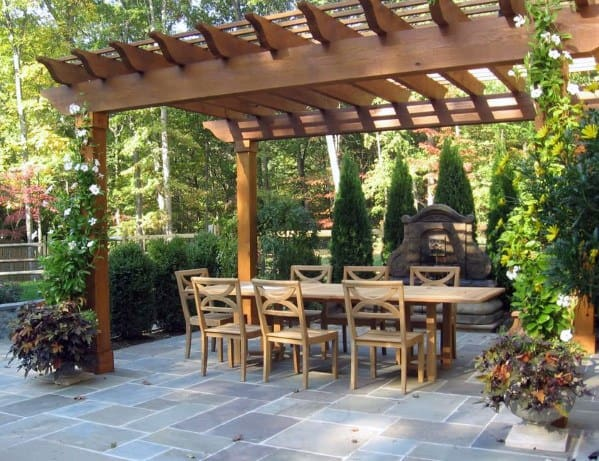Covered Pergola Roof Ideas Flagstone Patio