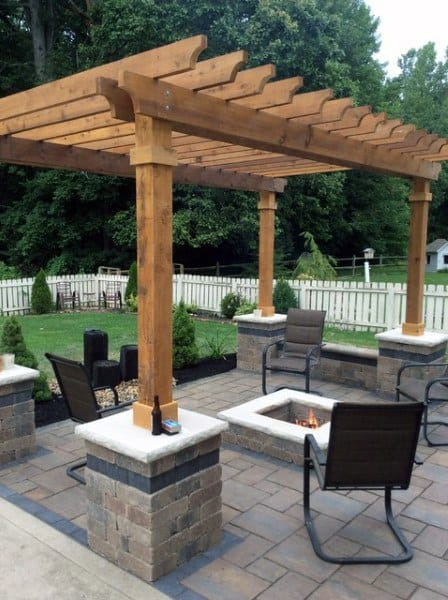 Covered Stone Pavers Fire Pit Patio Pergola Ideas