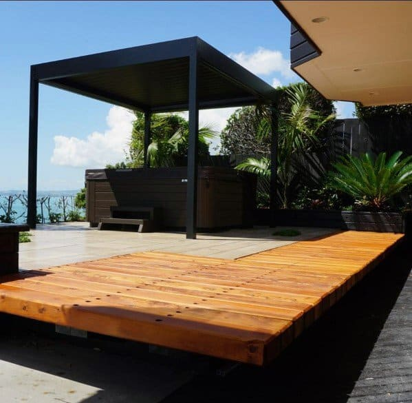 Covered Unique Floating Deck Designs