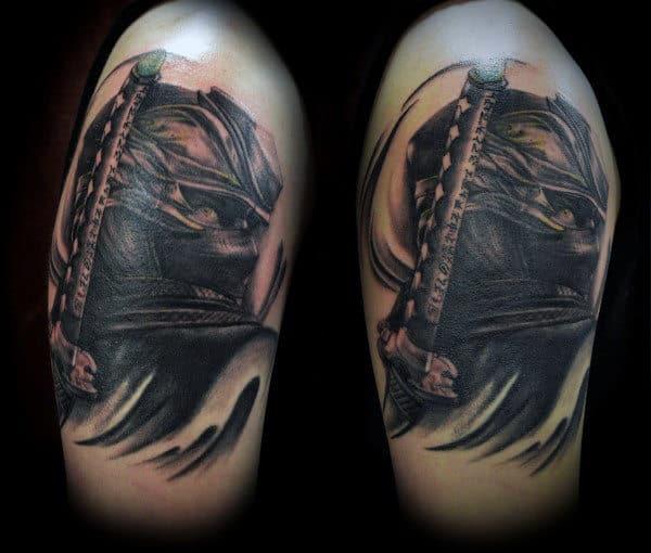 Covert Black Ink Mens Upper Arm Ninja Tattoos