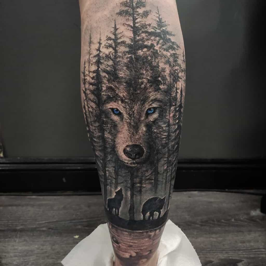 Coverup wolf leg sleeve tattoo