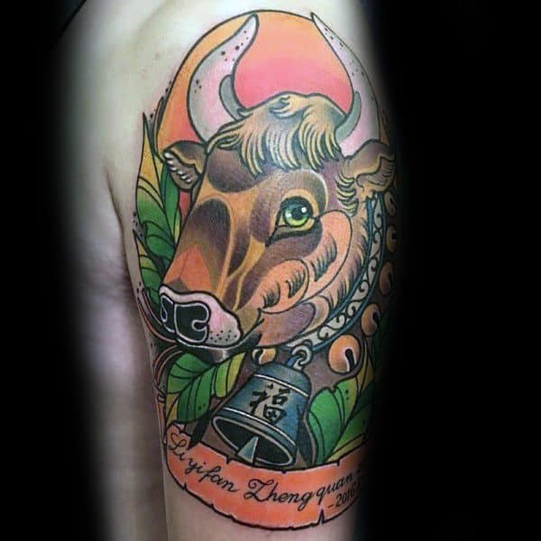 Cow Tattoo Designs On Men