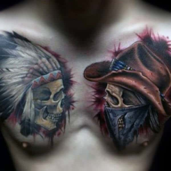 Cowboy And Indian Skulls Mens Chest Tattoos