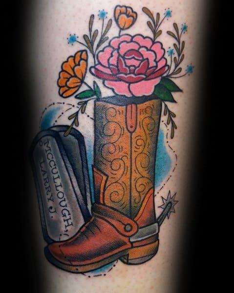 Cowboy Boot Tattoo Ideas For Men