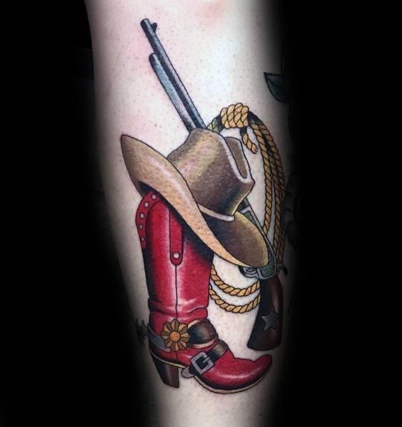 Cowboy Boot Tattoo Inspiration For Men