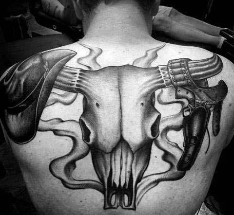 Cowboy Themed Bull Skull Guys Back Tattoos