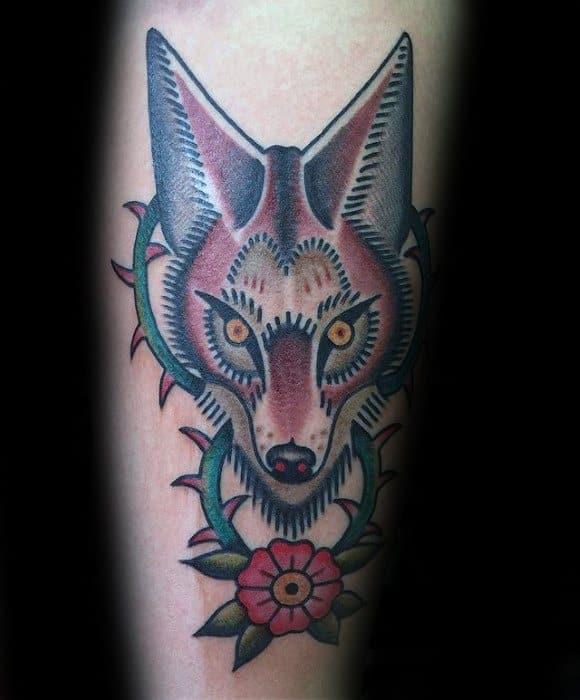 Coyote Male Tattoo Designs On Leg