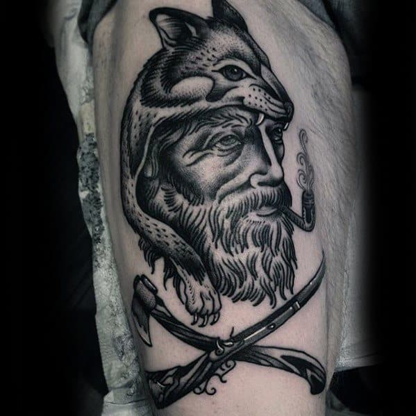 Coyote Male Tattoos On Arm