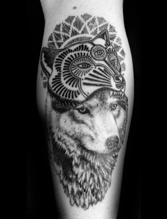 Coyote Tattoos For Gentlemen On Back Of Leg