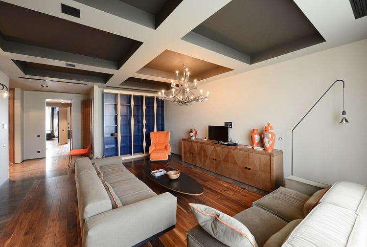 Cozy Living Room Coffered Ceiling