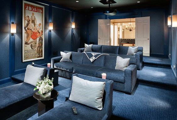 Cozy Lounge Blue Room Home Theater Design
