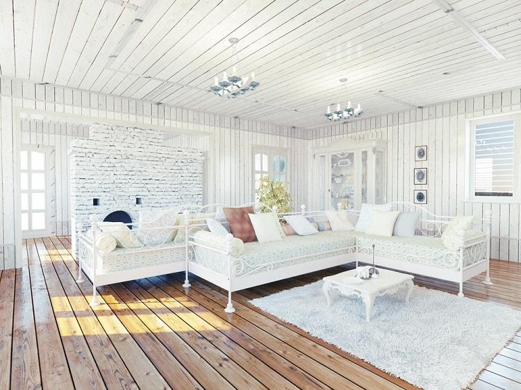 Cozy Rural House Beadboard Ceiling