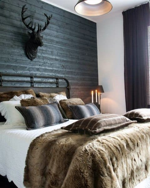 knitted and fur blankets cozy bedroom ideas
