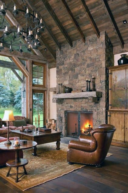 Cozy Rustic Stone Fireplace Design Living Room