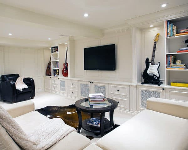 Cozy White Wall Paint Basemnt With Music Theme