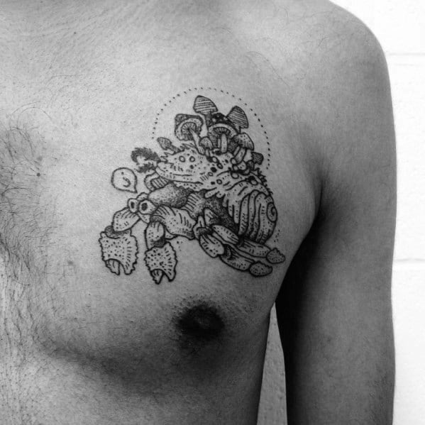 Crab Mushroom Tattoo Ideas For Gentlemen On Upper Chest
