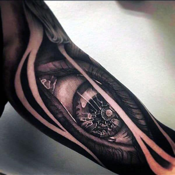 Cracked Eye Ball With Black Patterns Tattoo Guys Arms