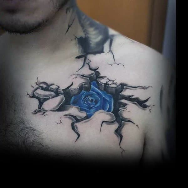Cracked Skin And Blue Rose Manly Tattoo Male Chest