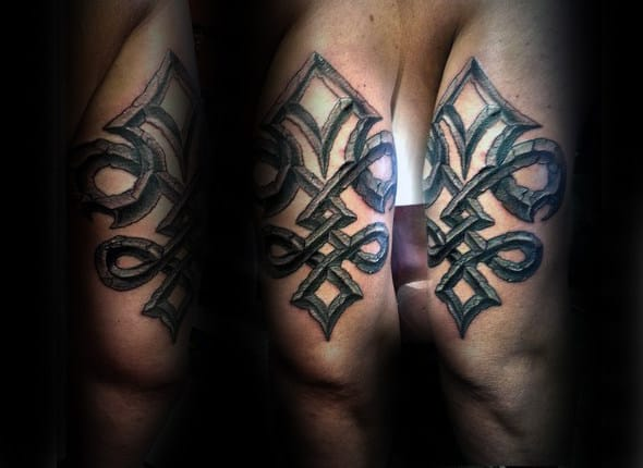 Cracked Stone Fleur De Lis Mens Tricep Tattoos