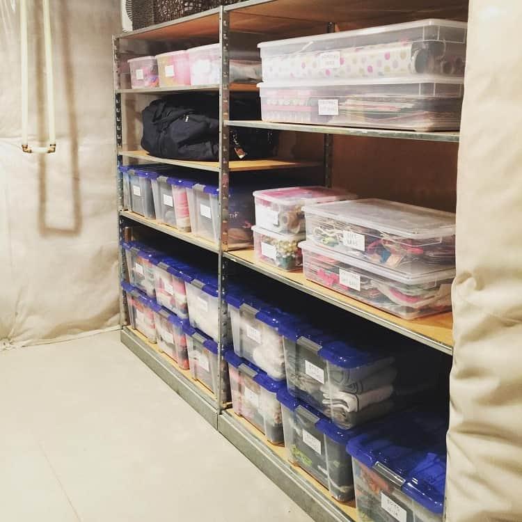 Crafts And Clothesbin Basement Storage