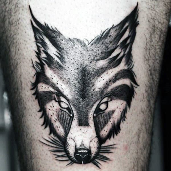 Crafty Black Fox Head Tattoo Mens Arms