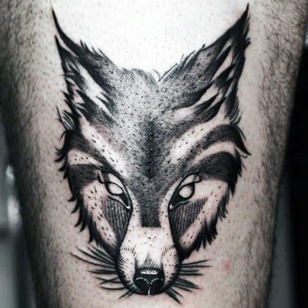 Crafty Black Fox Head Tattoo Mens Arms