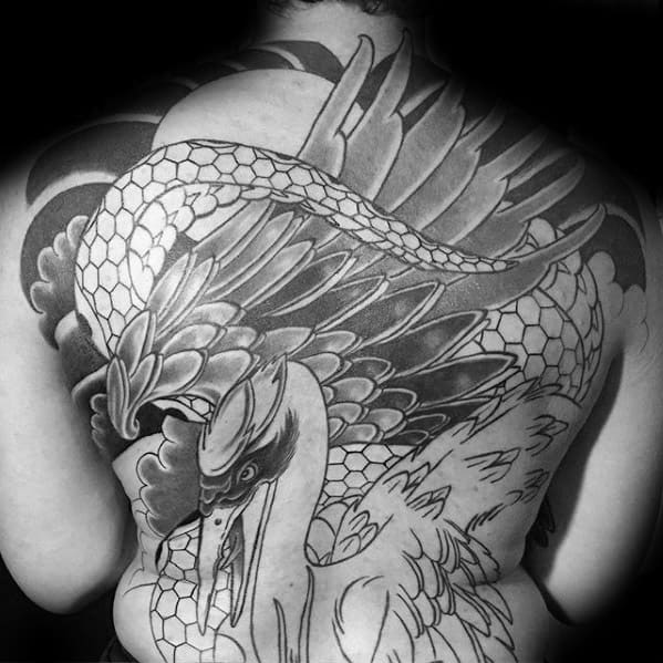 Crane Bird Feathers Mens Full Back Japanese Tattoos