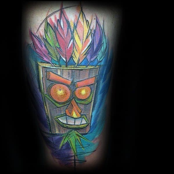 Crash Bandicoot Tattoos For Gentlemen On Thigh With Watercolor Design