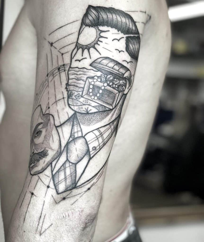 Crazy Linework Faceless Head Mask Treasure Chest Arm Abstract Tattoo