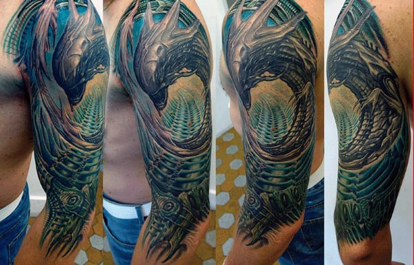 Crazy Mechanical Male Half Sleeve Tattoos