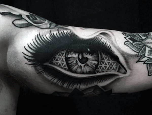Crazy Mens Realistic Eye Flower Of Life Bicep Inner Arm Tattoo