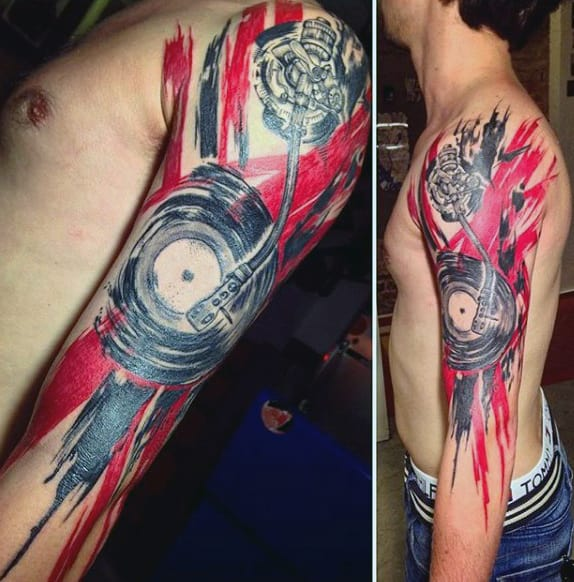 Crazy Musical Tattoo On Arms For Men