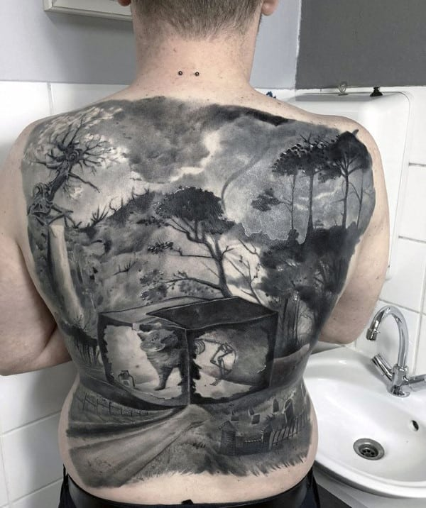 Crazy Realistic Mens Full Back Landscape Graveyard Tattoos