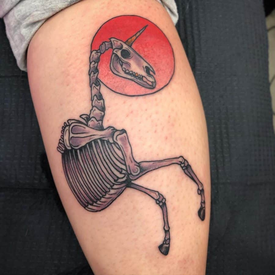 Crazy Skeleton With Horn Bright Red Sun Disc Behind Head New Wave Unicorn Tattoo